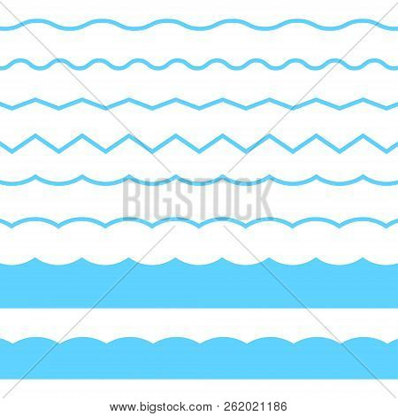 Blue Line Wave Ornament. Vector Blue Wave Icons Set On White Background. Seamless Vector Marine Wave