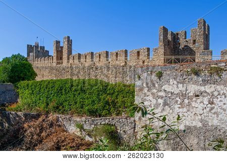 Castle of Tomar. The Knights Templar fortress which surrounds and protects the Convent of Christ or Convento de Cristo. Tomar, Portugal