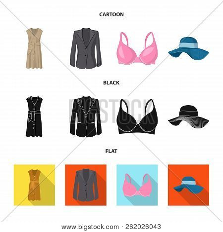 Vector Design Of Woman And Clothing Logo. Set Of Woman And Wear Stock Symbol For Web.
