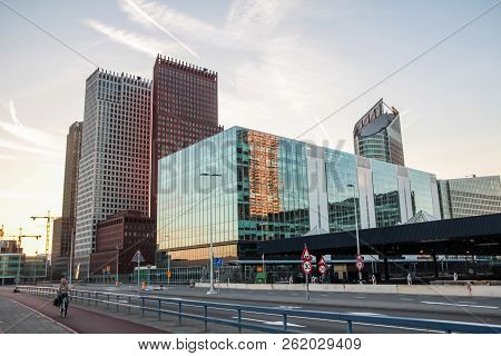 The Hague, The Netherlands - October 5 2018:  Hague City Skyline With Central Station, Bus Depot, Go
