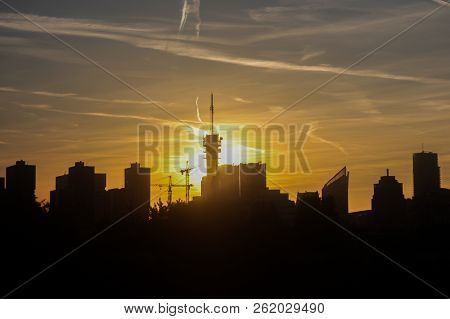 The Hague, The Netherlands - October 5 2018:  Hague City Skyline In Silhouette At Golden Hour; Home