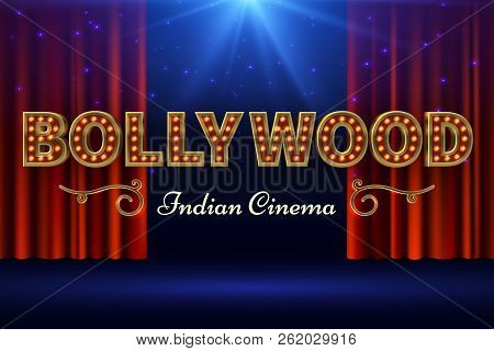 Bollywood Indian Film. Vintage Movie Poster With Old Stage And Red Curtain. Vector Illustration. Bol