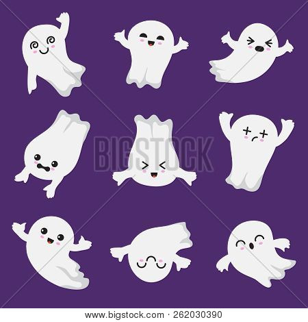Cute Kawaii Ghost. Halloween Scary Ghostly Characters. Ghost Vector Collection In Japanese Style. Il