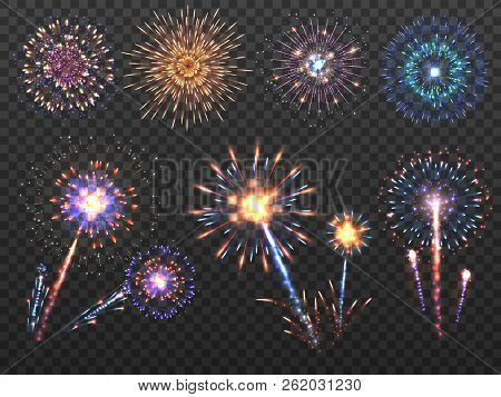 Fireworks. Holiday Firework Explosion In Night, Firecracker Sparks. Happy New Year Vector Decoration