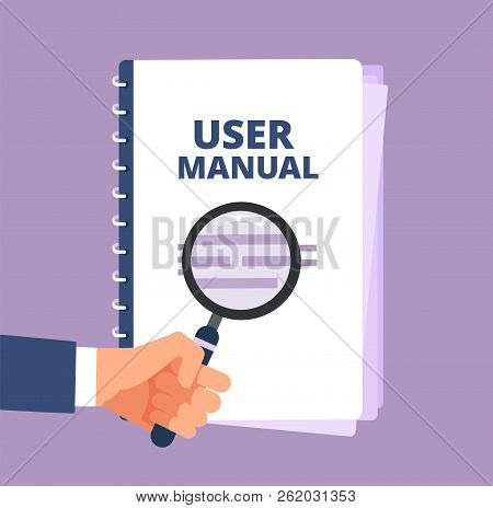 User Manual With Magnifying Glass. User Guide Document And Magnifier. Handbook, Handbook, Instructio