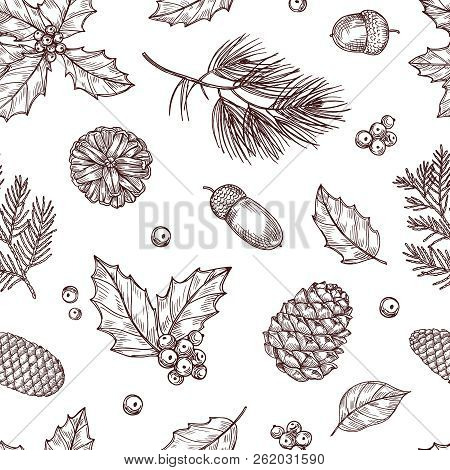 Christmas Seamless Pattern. Winter Fir And Pine Branches With Pine Cones. Vintage Vector Wallpaper I