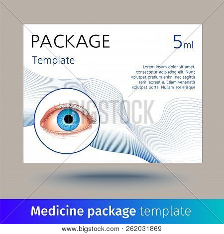 Vector Medicine Package Template With Realistic Eye. Box With Medical Accessories For Eye Care, Used