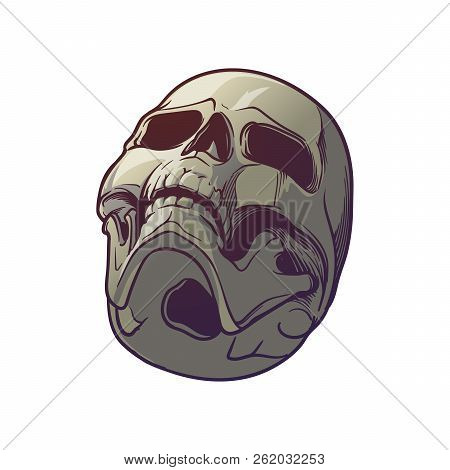 Human Skull Hand Drawing. Bottom Angle. Linear Drawing Painted In 3 Shades, Isolated On White Backgr