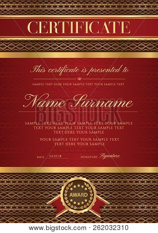 Certificate Vector Vertical Template. Secured Gold Border Guilloche Pattern For Diploma, Deed, Certi