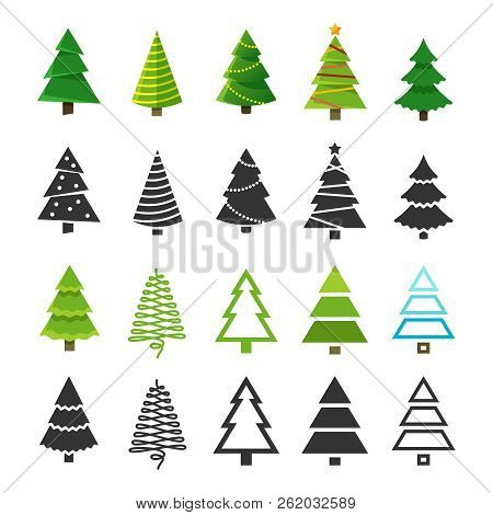Flat Christmas Winter Trees With Festive Xmas Decoration And Black Fir Tree Silhouettes Vector Colle