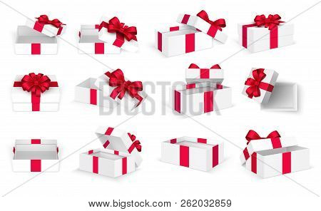 Gift Boxes. White Open Present Empty Box With Red Bow And Ribbons. Christmas And Valentine Day Vecto