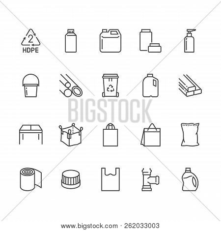 High Density Polyethylene Flat Line Icons. Hdpe Products Jerry Can, Plastic Canister Pipe, Milk Jug,