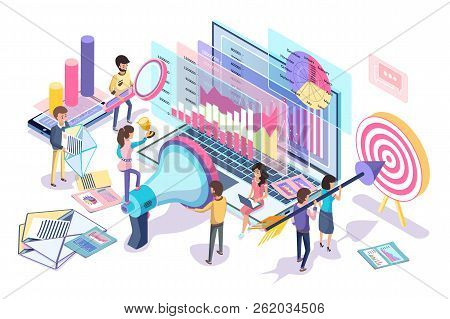 Digital Statistics Collecting And Analyzing Poster, Vector Illustration Of Different Data About Inte