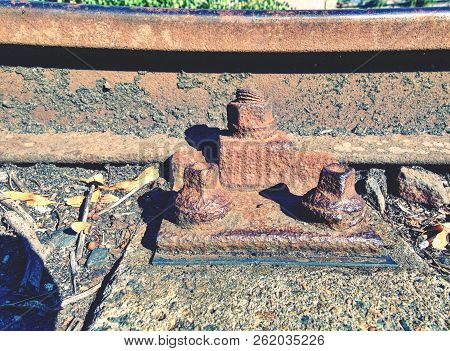 Rusty Abandoned Rails. Terrible Smell Rotten Old Wooden Ties With Phenol Asphalt Paint. Environmenta