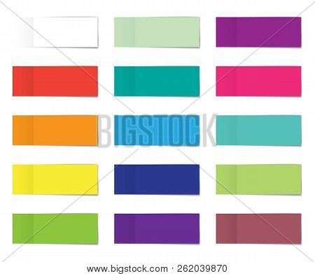 Post Note Sticker Set. Paper Sticky Tape With Shadow. Vector Office Color Post Note Sticks For Adver