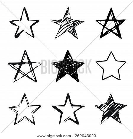 Stars Set, Hand Drawn Sketch, Doodle Vector Illustration. Black Symbols Drawn By Brush, Pen, Ink, Is