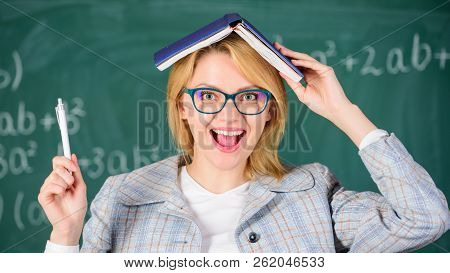 Looking For Inspiration. Woman Hold Book And Pen Chalkboard Background. Creative And Modern. Inspira