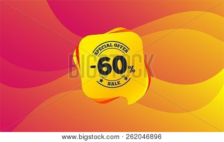 60 Percent Discount Sign Icon. Sale Symbol. Special Offer Label. Wave Background. Abstract Shopping