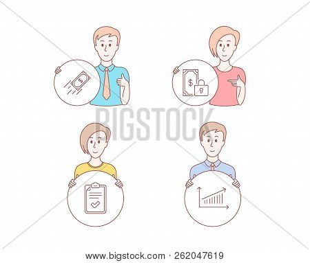 People Hand Drawn Style. Set Of Private Payment, Fast Payment And Checklist Icons. Chart Sign. Secur