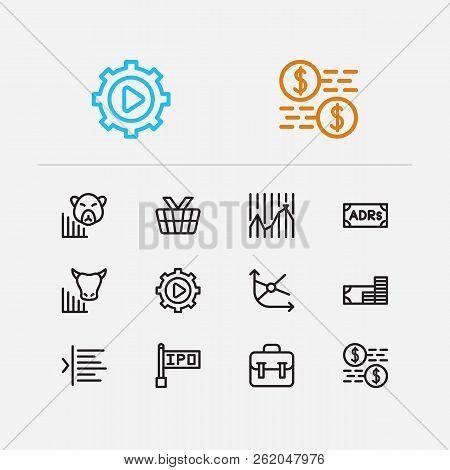 Finance Icons Set. Portfolio And Finance Icons With Bear Market, Trading Volume And Stock Market. Se