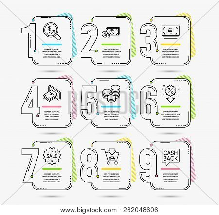 Infographic Template With Numbers 9 Options. Set Of Shopping, Discount And Sale Icons. Cash, Dollar