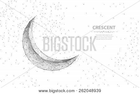 Vector Crescent Moon. Abstract Polygonal Wireframe Moon Illustration On White Background With Stars