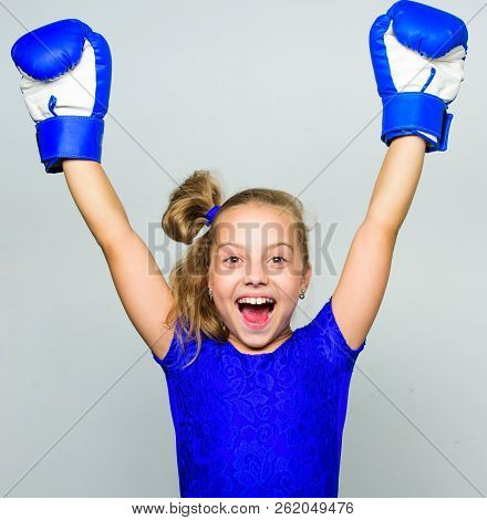 Feminist Movement. Strong Child Proud Winner Boxing Competition. Girl Child Happy Winner With Boxing
