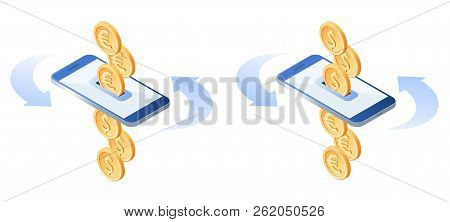 The Exchange Of Euros To Dollars. The Currency Conversion Process. Flat Vector Isometric Illustratio