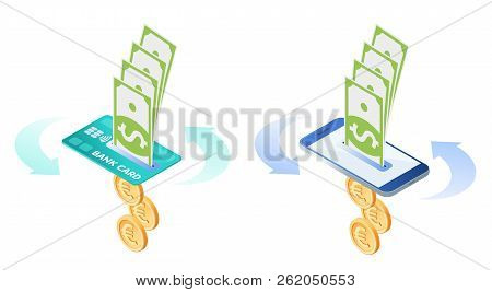 The Exchange, Currency Conversion Of Euros To Dollars. Flat Vector Isometric Illustration Of Euro Co