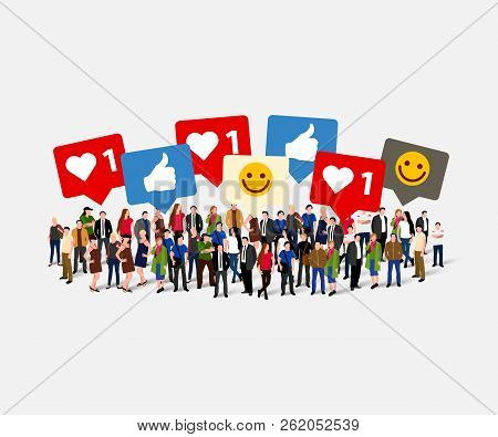 Large Group Of People With Like, Thumb, Heart, Signs. Social Network Concept. Vector Illustration