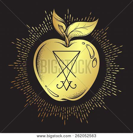 Forbidden Fruit Apple From The Tree Of Knowledge With He Sigil Of Lucifer Isolated Hand Drawn Line A