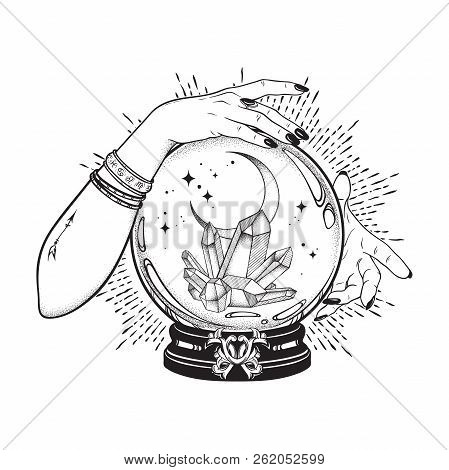 Hand Drawn Magic Crystal Ball With Gems And Crescent Moon In Hands Of Fortune Teller Line Art And Do