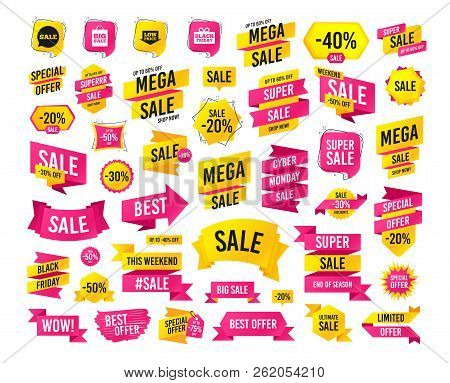 Sales Banner. Super Mega Discounts. Sale Speech Bubble Icon. Black Friday Gift Box Symbol. Big Sale