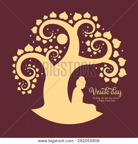 Vesak Day Banner With Beside Buddha Meditate Under Bodhi Tree Abstract Sign Style Vector Design