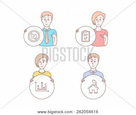 People Hand Drawn Style. Set Of Checklist, Survey Results And Stop Talking Icons. Home Sign. Survey,