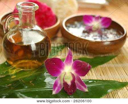 Tropical spa with massage oil