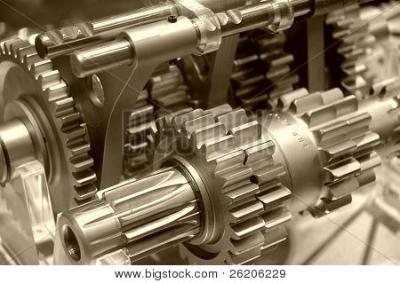 Industrial gears in sepia