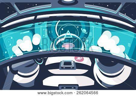Astronaut In Futuristic Capsule Or Container. Human