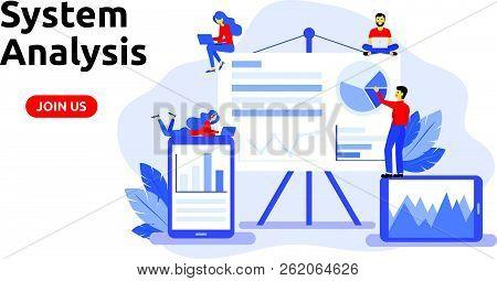 Modern Flat Design Concept For System Analysis. Big Data Analysis.