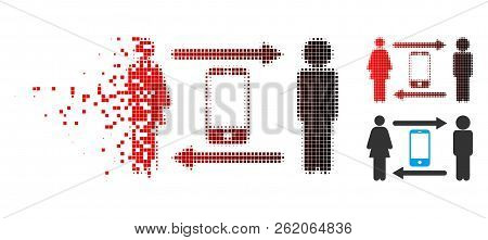 People Exchange Smartphone Icon In Dispersed, Dotted Halftone And Undamaged Whole Versions. Elements