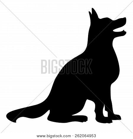 Simple Happy Vector Dog Silhouette, Sharp Clean Lines, Sitting, Looking Up