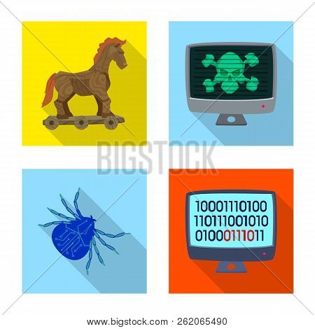 Vector Design Of Virus And Secure Icon. Collection Of Virus And Cyber Vector Icon For Stock.