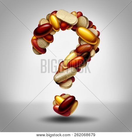 Health Supplements As A Group Of Vitamin And Supplement Pills And Capsules Shaped As A Question Mark