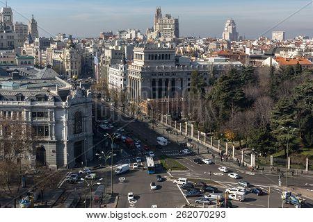 Madrid, Spain - January 24, 2018:  Panoramic View From The Terrace Of Cybele Palace (palacio De Cibe