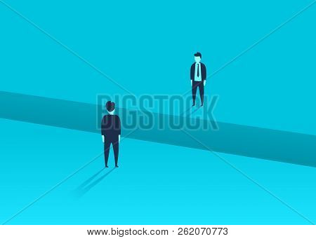 Business Comunication Or Negotiation Problems, Issues. Two Businessmen With Gap Between Them. Vector