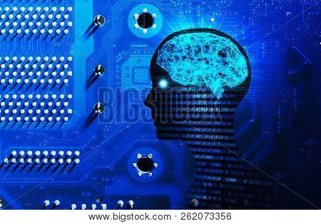 Side View Of Human Head Shape, Brain, And Motherboard. Model Isolated On Blue Background, Artificial