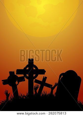 Red And Yellow Halloween Background With Tombstones And Zombie Hands Silhouettes Under The Moon