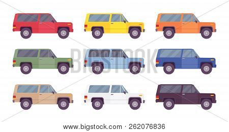 Suv, Offroad Set In Bright Colors. Vehicle With Four-wheel Drive For Rough Ground, Traveling Off Pub