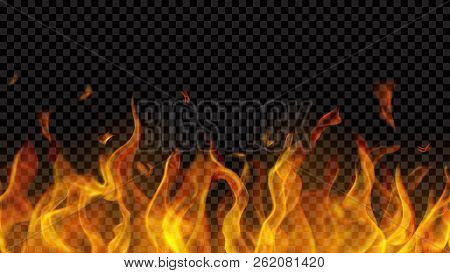 Translucent Fire Flame With Horizontal Seamless Repeat On Transparent Background. For Used On Dark B