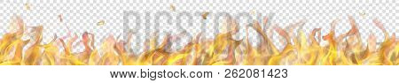 Translucent Long Fire Flame With Horizontal Seamless Repeat On Transparent Background. For Used On L